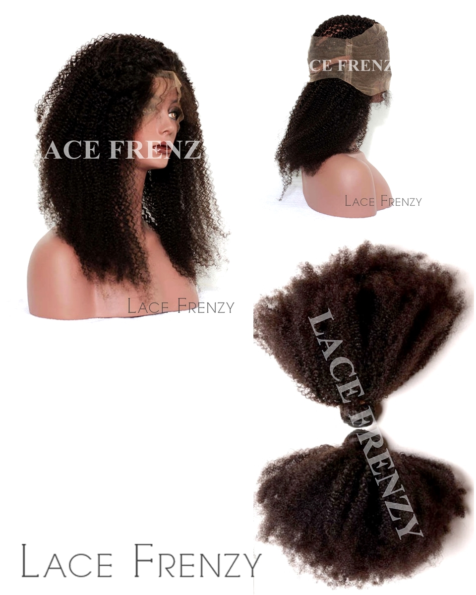 Virgin Human Hair - Afro Kinky Curly - 360 Frontal with Layered Bundles