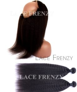 Virgin Human Hair - Kinky Straight- 360 Frontal with Layered Bundles