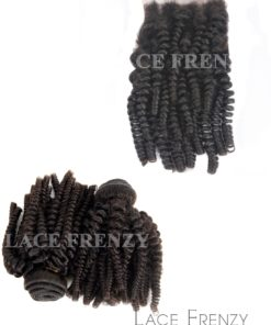 Virgin Human Hair -Spiral Tight Curls- Lace Closure & 200G Bundle