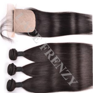 Straight - 4x4 Inches Silk Top Closure and 300g Layered Bundle Kit