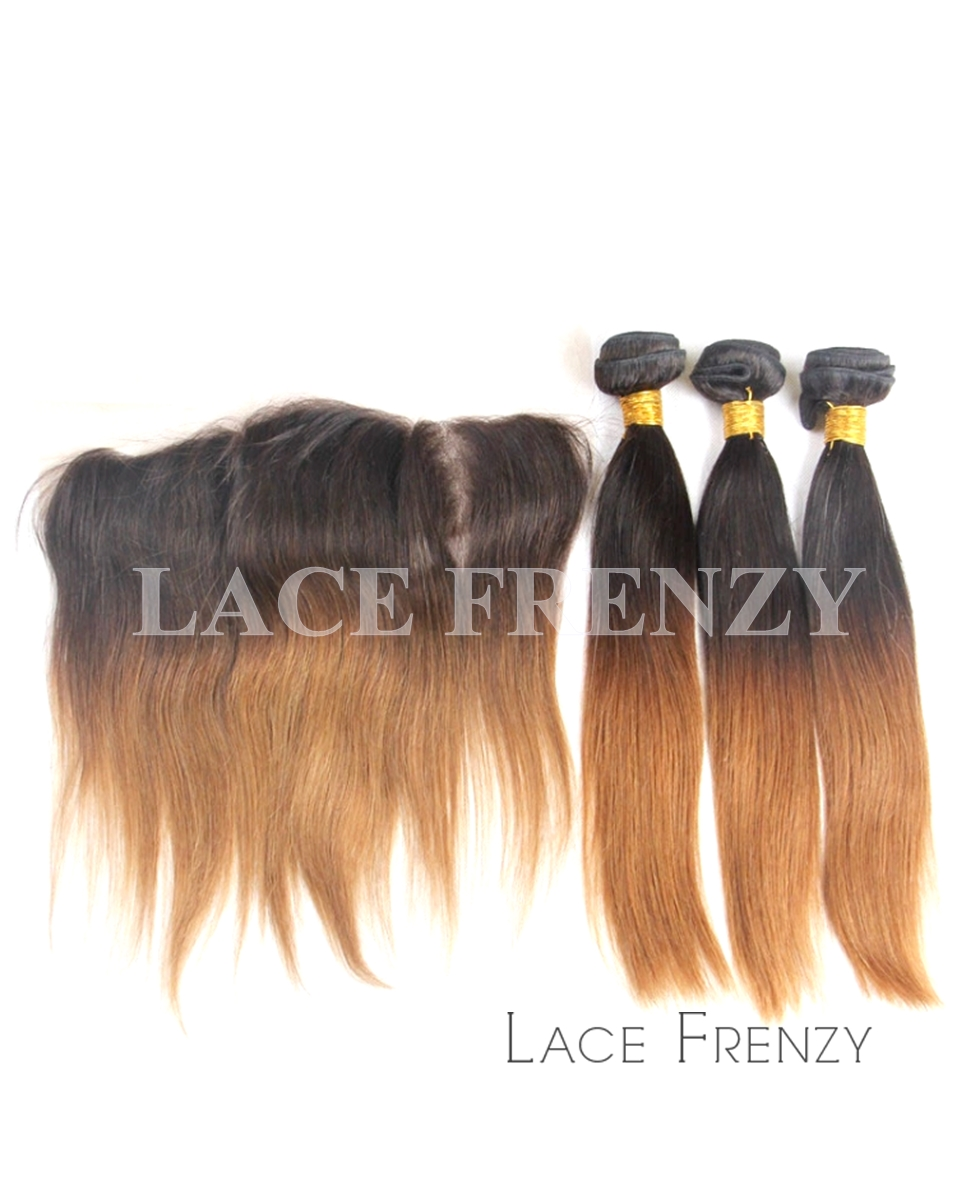 Indian Remy Hair Ombre' Straight 13X4 Inches Lace Frontal w/300G Bundle Kit