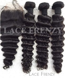 Peruvian Virgin Hair -Deep Wave- 4x4 Inches - Top Closure and 300G- Layered- Machine Weft Bundle Kit