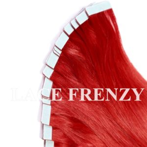 Crimson Red - Straight- 40Pcs -Double Drawn Tape-In Hair Extension
