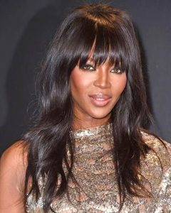 Naomi Campbell- Slight Wavy Handtied Bang - Custom Celebrity Lace Wig