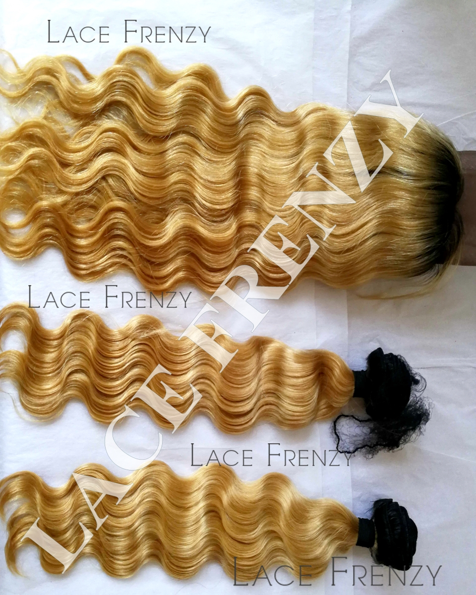 Custom Ombre' Brazilian Virgin Hair - Body Wave - 360 Frontal with 2 Bundles