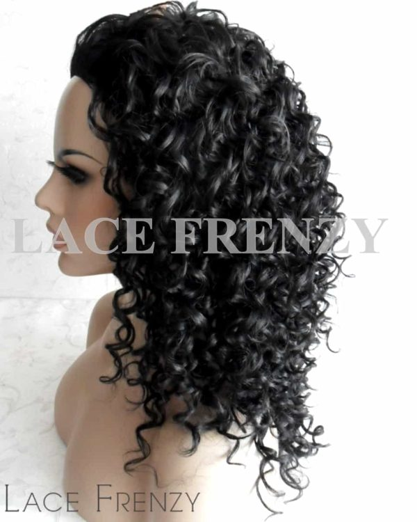 Deep Curly - 20 Inches - 3/4 Synthetic Machine Made Half Wig