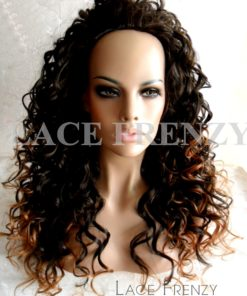 Two Toned Curly - 22 Inches - 3/4 Synthetic Machine Made Half Wig