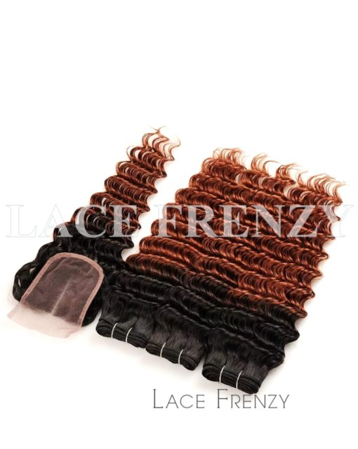 Deep Wave Virgin Human Hair Two Toned 4x4 Inches Closure + Layered Bundle Kit
