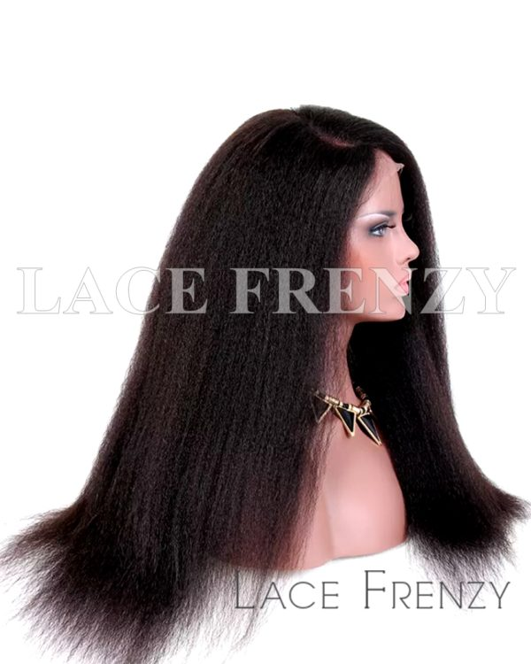 Kinky Straight Virgin Human Hair 13x6 Inches Lace Front Wig
