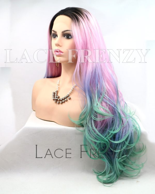 Lyric 22 Inches Dark Roots Rainbow Lace Front Wig