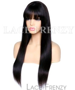 Straight Handtied Bang Virgin Human Hair Lace Front Wig