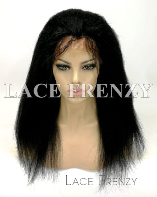 Virgin Human Hair Kinky Straight Full Thin Skin Wig