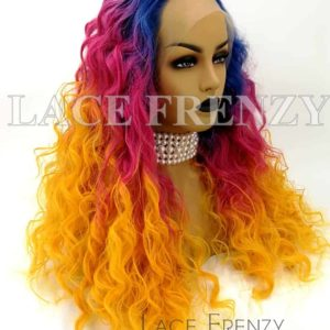 Prism 22 Inches Soft Curl Multi Color Lace Front Wig