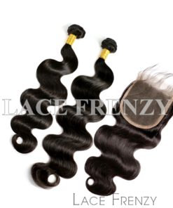 Body Wave Virgin Human Hair 5x5 Inches Closure + 2 Layered Bundle Kit