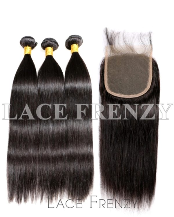 Straight Virgin Human Hair 5x5 Inches Closure + 3 Layered Bundle Kit