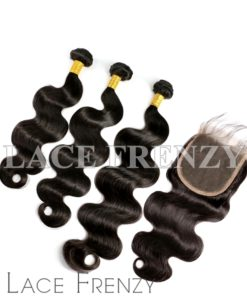 Body Wave Virgin Human Hair 5x5 Inches Closure + 3 Layered Bundle Kit