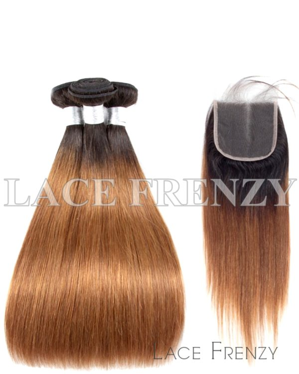 Custom Ombre' Straight 5x5 Inches Closure + 3 Layered Bundle Kit
