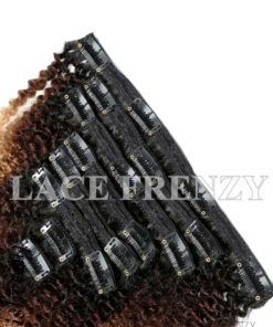 Peruvian Virgin Human Hair Ombre Kinky Curly 8pcs Clip-In Hair Extension