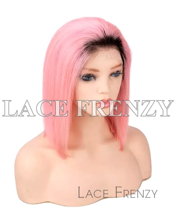 Two Toned Straight Bob Cut Human Hair Lace Front Wig