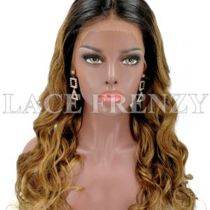 Memphis 20 Inches Two Toned Curly Indian Remy Human Hair Lace Front Wig