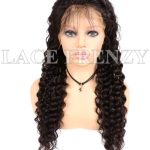 Virgin Human Hair Deep Wave Illusion Scalp 13x6 Lace Front Wig