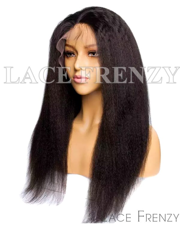 Virgin Human Hair Kinky Straight Illusion Scalp 13x6 Lace Front Wig