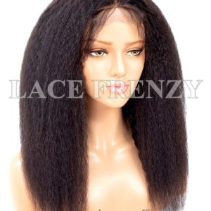 Virgin Human Hair Kinky Straight HD Transparent 13X6 Lace Front Wig